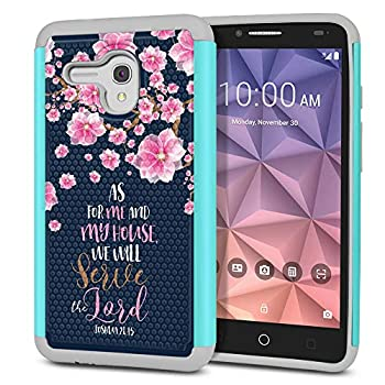 FINCIBO Case Compatible with Alcatel Onetouch Fierce XL 5054 Flint Dual Layer Football Skin Hybrid Protector Case Cover Anti-Shock TPU for Onetouch Fierce XL - Joshua 24 15 Falling Pink Flower Navy