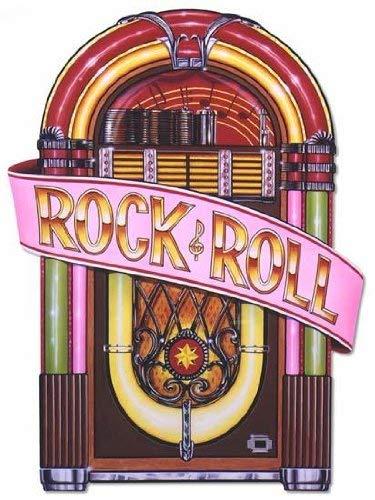 Beistle 57747 Partydekoration Rock and Roll mit Glitzer Jukebox-Ausschnitte One Size Mehrfarbig