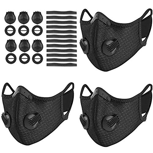 UBRU 3 Sets Sports Masks with 5-Layers Activated Carbon Filter Inside, Cycling Mask with 12 Soft Foam Padding and 6 Breathing Valve for Walking Running Cycling