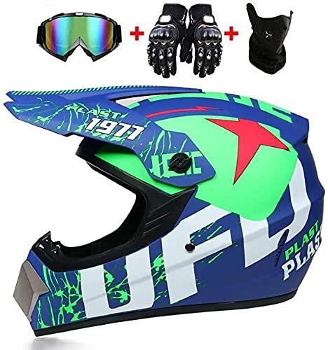 JWKJ Casco Moto Niño, Casco Motocross Eduro ECE Certificación Casco de Moto Downhill con Gafas/Máscara/Guantes Cascos de Cross de Moto Set Casco de Moto Cross Integral para Mujer Hombre