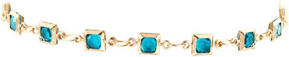 Idiytip Bohemian Irregular Rhinestone Alloy Bracelet Anklet Crystal Tennis Anklets for Women Jewelry Gift,Blue