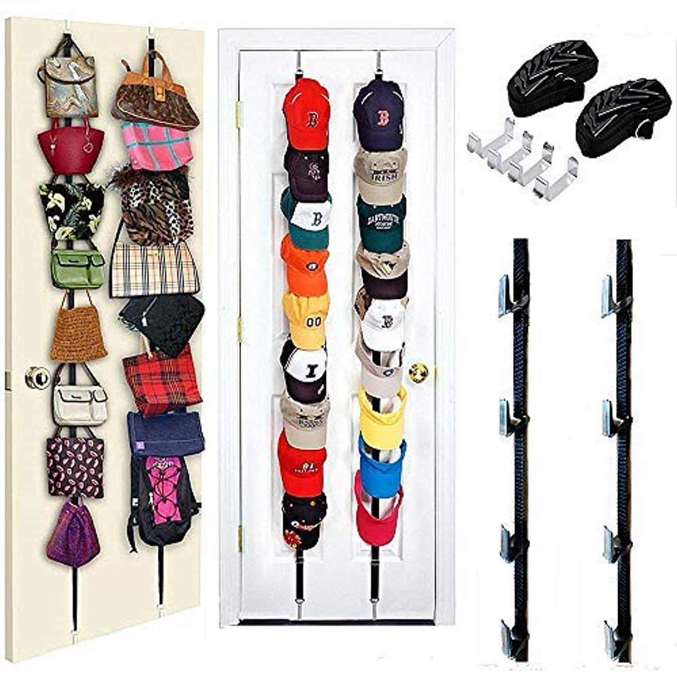 TONIFUL 2 Pack Hat Rack,Bag Rack Organizer,Cap Rack Organizer,Holds up to 16 Caps for Baseball, Ball Caps,Bags,Hat Storage for Door, Wall, or Closet Organize