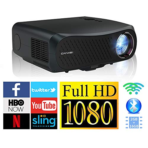 WiFi Proyector de video Full HD 1080P Native con Bluetooth 4.2 WiFi LED Proyector de películas Miracast HDMI USB 5500 lumen Compatible con Smartphone Laptop DVD PC Playstation Fire Stick