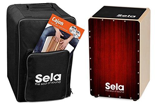Sela SE 128 EN Varios Red Cajon Bundle mit Rucksack, Sitzpad, englischer Anfängerschule, CD und DVD