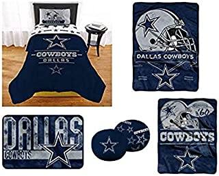 """The Northwest Company NFL Dallas Cowboys """"Monument"""" Twin XL Bedding Set - Includes 1 Twin XL Comforter, 1 Blanket, 1 Throw, 1 Rug, and 1 toss Pillow"""