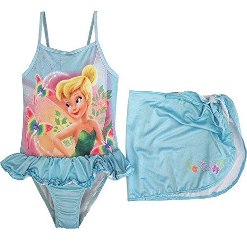 Disney Little Girls Tinker Bell Print Skirt 2 pc Swimsuit 2t Sky Blue
