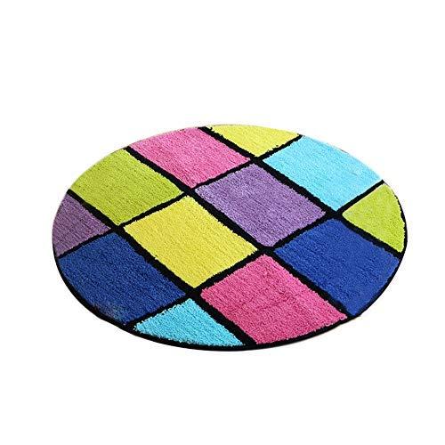 YOCASA Farbiger runder Teppich, Rutschfester Karierter Teppich für Schlafzimmer, Computer-Drehstuhl-Matte (Größe: Durchmesser-90cm)