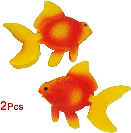 SODIAL(R) 2 Stueck Orange Rot Kunststoff Fantail Goldfisch fuer Aquarium Dekor