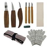 10PCS Kit Strumenti Intaglio Legno Scalpelli e Coltelli Intaglio Legno con Guanti Antitaglio per Intaglio Sculture Carpentieri Professionali e Principianti