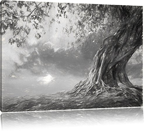 Pixxprint Verwurzelter starker Baum als Leinwandbild | Größe: 80x60 cm | Wandbild | Kunstdruck | fertig bespannt