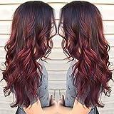 Parrucche per le donne, Lanceasy sfumato rosso nero lunghi ricci parrucca sintetica resistente al calore capelli mossi parrucca