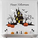 decalmile Pegatinas de Pared Halloween Murciélago Calabaza Adhesivos Pared Dormitorio Sala Ventana Decoración de Halloween