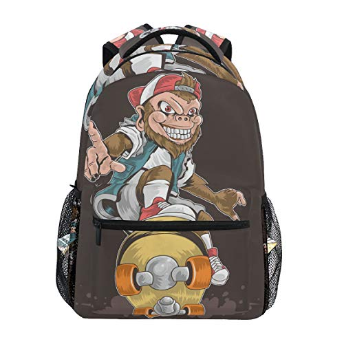School Backpack Laptop Backpack Men Women - Skateboard Monkey Pop Punk Lightweight Book Bag for Teens Daypack Heavy Duty