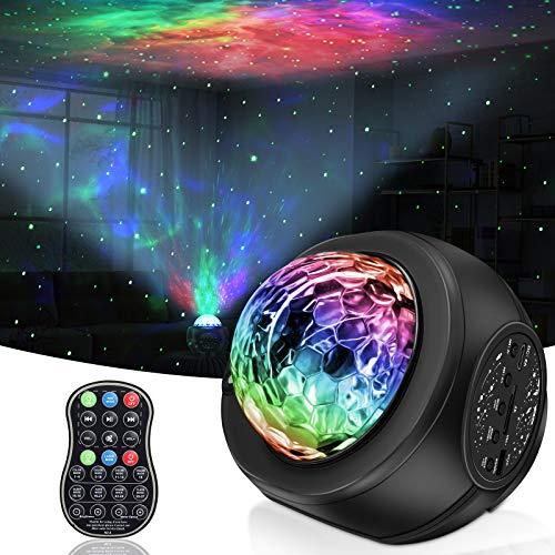 LED Sternenhimmel Projektor, LED Sternprojektor mit Bluetooth Lautsprecher, Baby Nachtlichter Fernbedienungs Nachtlichter mit Wasserwelleneffekt, für Geburtstagsfeier Hochzeit Schlafzimmer Wohnzimmer