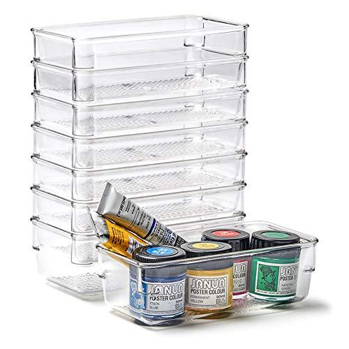 EZOWare Juego de 8 Organizadores de Cajón, Cajas Bandejas de Plástico Transparente Apilables Almacenamiento para Cajones, Escritorio, Cocina, Baño, Maquillaje, Armario - 16 x 8 x 5.1 cm