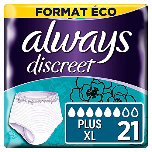 Always Discreet, Culottes pour incontinence / fuites urinaires, Taille XL, 6 gouttes, Format éco x21 (3 packs de 7 unités)