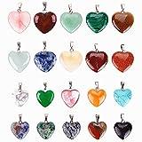Reccisokz - 20 colgantes de piedras en forma de corazón, cuentas de chakra, abalorios de cristal, 2 tamaños diferentes
