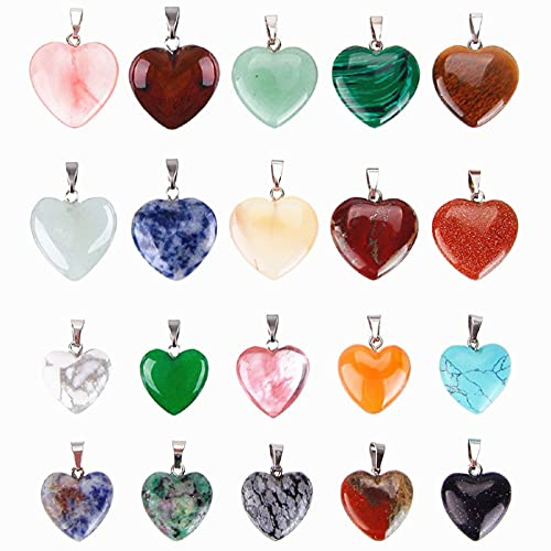 Reccisokz herzförmige Anhänger aus Stein, Kristallsteine, Perlen, Glücksbringer, Halskettenanhänger, 20 Stück in 2 Größen