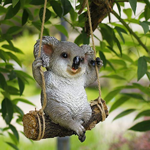 WSJF Animal Figure Model ornament Garden Tree Hanging Ornaments, Swing Koala Bear Resin Outdoor Sculpture Ornaments Courtyard Statue Animal Figure Sculpture Decoration