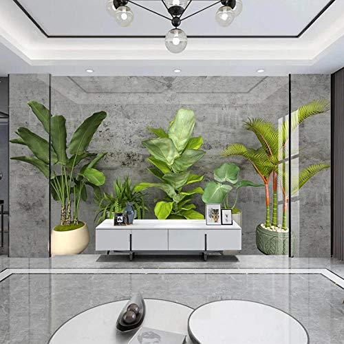 AMTTGOYY Papel tapiz fotográfico 3D, pared de cemento gris, planta verde en maceta, sala de estar, sofá, TV, fondo, pared, decoración del hogar, pintura mural-150x105cm