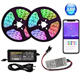 KIODS LED Tira DC 12V Tira de luz LED Bluetooth 5050 Sp110E Controlador de aplicación RGB Tira de luz LED direccionable 5050 Pixel Light Strip Set