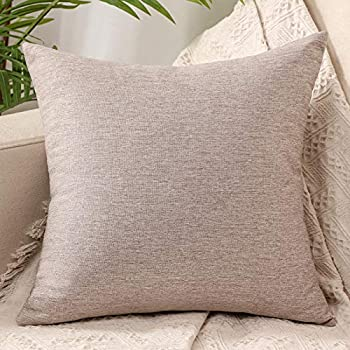 ZebraSmile Decorative Throw Pillow Covers Cotton Linen Solid Pattern Cushion Covers for Sofa Couch Living Room Bedroom 20 X 20 in Light Grey