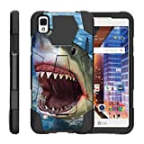 TurtleArmor | Compatible with LG Tribute HD Case | LG Volt 3 | LG X Style [Dynamic Shell] Dual Layer Hybrid Impact Case Fitted Silicone Kickstand Sea Ocean - Shark Attack