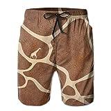 Maillot de Bain pour Homme Girafe Skin Vector Beach Board Shorts - Sport à séchage Rapide - Short de Bain avec Poches en Doublure en Maille,M