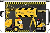 新しい子供の誕生日の背景写真撮影のテーマ7x5ftディガーショベルduトラック男の子誕生日パーティーの背景写真ブーススタジオ小道具ビニールカスタマイズされたMB312