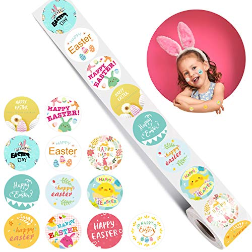 JOOPOM Rollo de Pegatina de Pascua 500 uds Etiqueta Adhesiva Redonda Calcomanías de Huevo Conejo para Álbumes de Recortes Bolsas de Fiestas Pascua Tarjetas de Felicitación Niños
