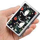 Tarjeta de visita profesional, caja de la cartera de acero inoxidable Titular de la tarjeta de identificación de tarjeta de crédito Cisnes blancos pares