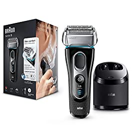 Braun Series 5 5197cc Men's Electric Foil Shaver Wet and Dry with Clean and Charge Station Pop Up Precision Trimer Rechargeable and Cordless Razor Black/Blue/Chrome, 2 pin plug