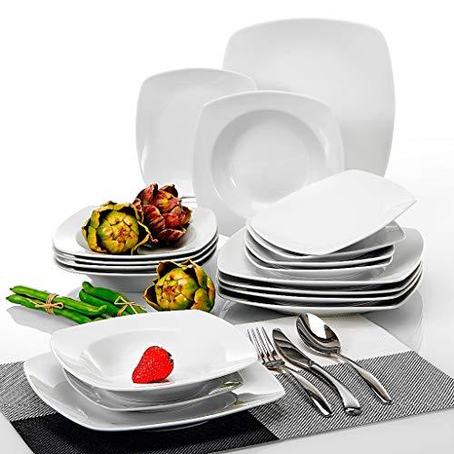 DAGONGREN Un Juego de Cena de vajilla de Porcelana de cerámica de 18 Piezas con 6 * Cena de Cena Placas de Postre Establecer Servicio para 6 Personas