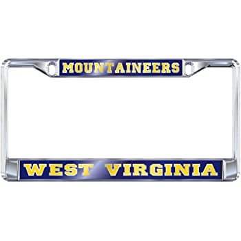 WVU WEST Virginia University Moutaineers Chrome License Plate Frame