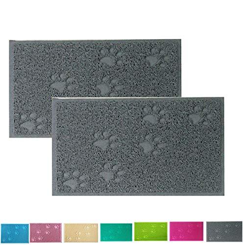 Cloud Heart - Tappetino per Cibo per Animali Domestici, a Forma di Zampa, in PVC, tovaglietta per Cani e Gatti, 40 x 30 cm, Confezione da 2