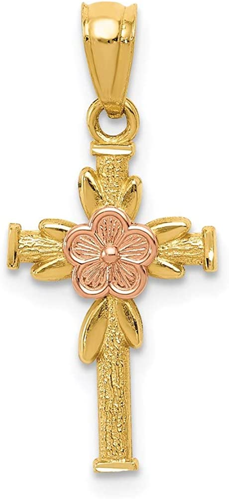 14K Two-tone Polished D C Cross Max 46% OFF 10.5mm w Our shop most popular Flower 23.31mm Pendant