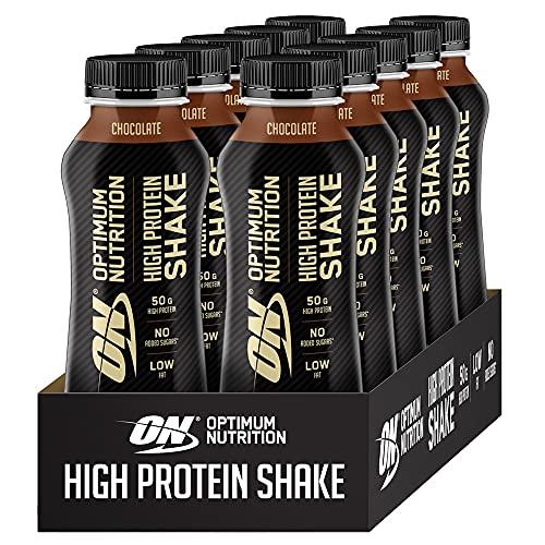 Optimum Nutrition ON High Protein Shake, Frullato Proteico con Proteine Whey, Milkshake Pronto da Bere per Aumento della Massa Muscolare, Cioccolato, Cofezione da 10, 10x500ml