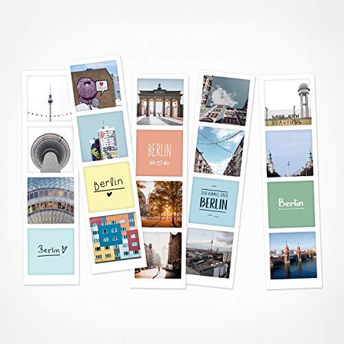 PICKMOTION Set mit 5 Fotostreifen, Grüße & Wünsche, Instagram-Fotografen-Fotostreifen Berlin, Premium Lesezeichen, lustige Sprüche & Motive, Berlin Motive