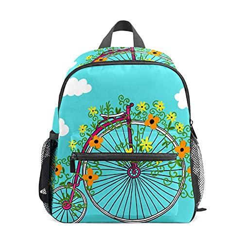 Unico Bicicletta Bike Ruote Fiore Blu Zaino per Ragazza Ragazzo Bambini Mini Viaggio Daypack Primario Studente Prescolare Bookbag Piccola Scuola Bag
