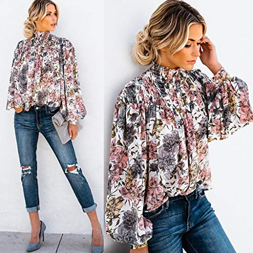 Cheapest Prices! Women Pullover Chiffon Long Sleeved Turtleneck Paisley Loose BlouseTee Floral Print...
