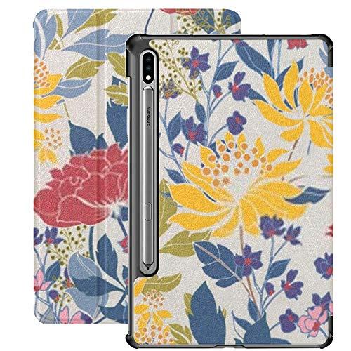 Compatible avec l'étui Galaxy Tablet S7 Plus 12,4 pouces 2020 avec porte-stylo S, étui de protection folio élégant Floral Slim Stand pour Samsung