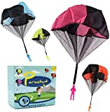 DASEY 4PCS Set Tangle Free Throwing Parachute Figures Hand Throw Soliders Parachute Square Outdoor...