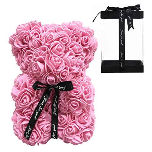Rose Flower Bear für Immer Rose Flowers Teddy Bear PE Foam Künstliche simulierte Blumen für Jubiläum Weihnachten Silver Day Geschenk