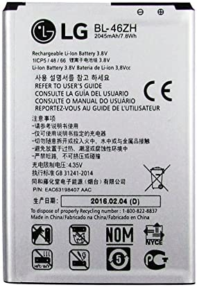 GENUINE LG BATTERY BL 46ZH 2125mAh 8 1Wh 3 8V FOR LG K8 K350N EAC63198401 None Retail Packaging product image