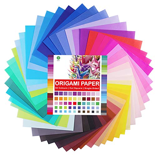 Papel Para Origami, Paquete de 100 Hojas de Papel Para Papiroflexia (15 x 15 cm, 80 gsm) 50 Colores