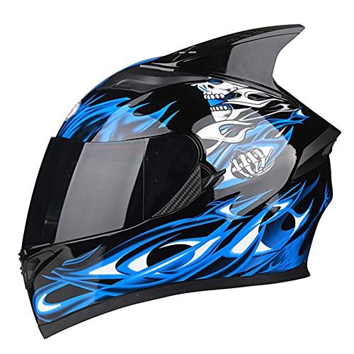 RMBDD Casco de Motocicleta Integrado Bluetooth Sistema de Comunicación de Completa ABS PC Lente de Dot/ECE 2 Bocinas/MP3 Intercomunicador de Emparejamiento de 2-3 Conductores (54~65CM)