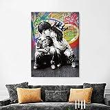 Pintura sin Marco Arte de la Pared Graffiti decoración Familiar niño y niña Amistad Beso Foto Pop Art ZGQ2350 60X80cm