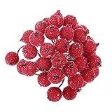 200pcs Mini Weihnachten Dekoration Künstliche Frucht Beere Holly Blumen - Rot - 3