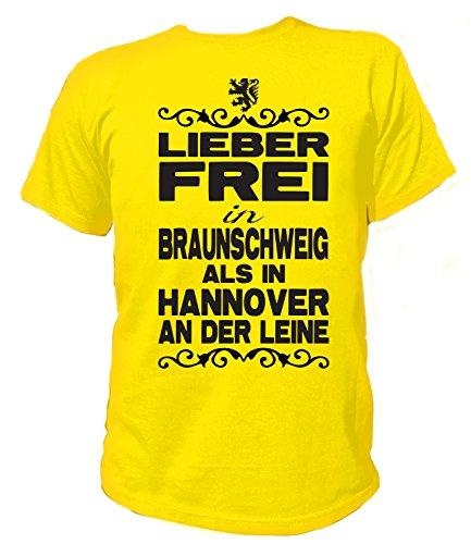 Artdiktat Herren T-Shirt - Lieber frei in Braunschweig als in Hannover an der Leine - Funshirt Humor Fun Spaß Kult Funny Spruch Größe L, gelb