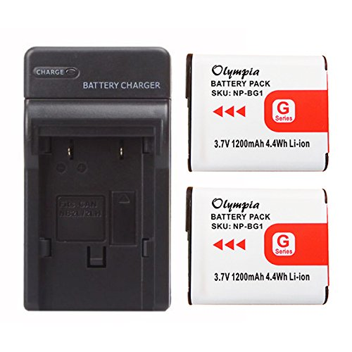 1200mAh, 3.7V, Lithium-Ion Replacement for Sony NP-BG1 Digital Camera Batteries and Chargers Sony DSC-W200 Battery and Charger